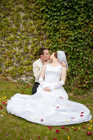 beautiful young wedding couple outdoor Stock Photo - 16142079