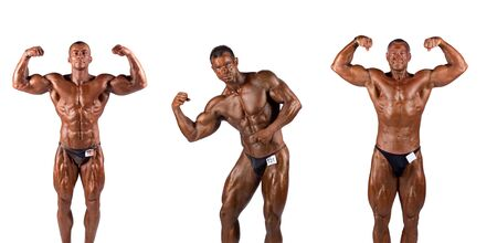Bodybuilders posing over white background photo