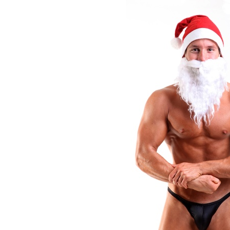 bodybuilder santa claus photo