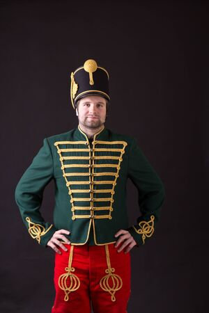 cavalryman: hungarian hussar posing in studio