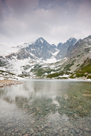 High Tatras with snowy peaks and lake Stock Photo - 17359241
