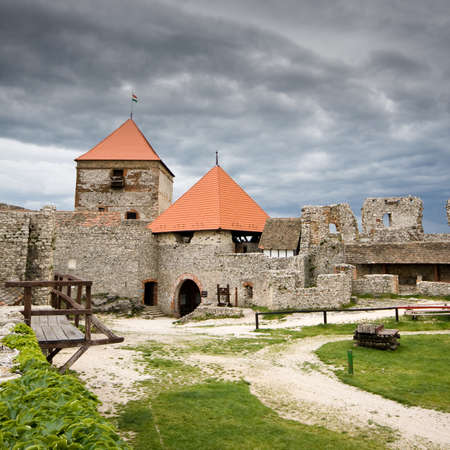 castle in Sumeg with dark clouds