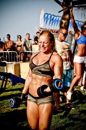 SIOFOK - AUG 4: Toldi Zsuzsanna participate in Scitec Muscle Beach bodybuilding seminar on August 4, 2012 in Siofok, Hungary