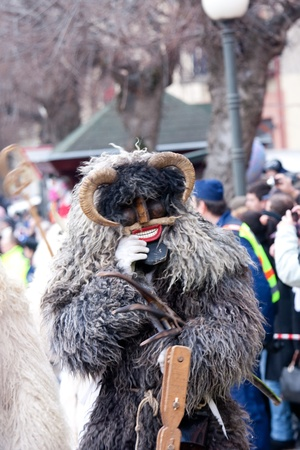 public celebratory event: MOHACS, HUNGARY - MARCH 6: Unidentified people in mask participants at the Mohacsi Busojaras, it is a carnival for spring greetings) March 6, 2011 in Mohacs, Hungary.