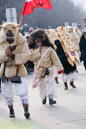 farsang: MOHACS, HUNGARY - MARCH 6: Unidentified people in mask participants at the Mohacsi Busojaras, it is a carnival for spring greetings) March 6, 2011 in Mohacs, Hungary.