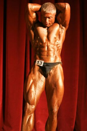 BUDAPEST, HUNGARY - MAY 19: Mery Zoltan participates in Superbody Kupa bodybuilding championship  on May 19, 2007 in Budapest, Hungary