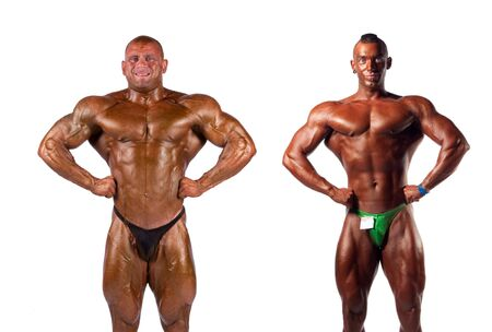 bodybuilder: bodybuilders flexing muscles isolated on white