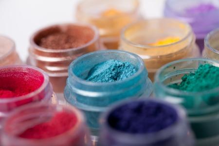 Ensemble de fards � paupi�res min�rales color�es Banque d'images