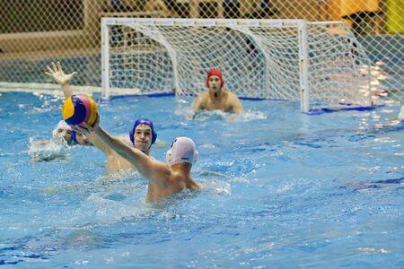 cs: PÉCS, HUNGARY - APRIL 8: PVSK-Füszért (white) and Hungarian Junior all stars team (blue) friendly training match on April 8, 2013 in Pécs, Hungary