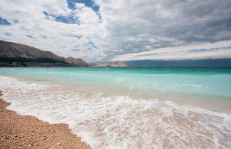 krk: stormy sea in Croatia, Baska