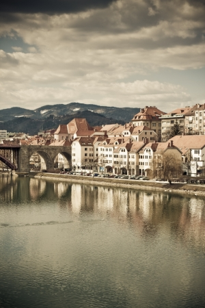 colorized: Maribor in Slovenia with river Drava -colorized photo for old mood