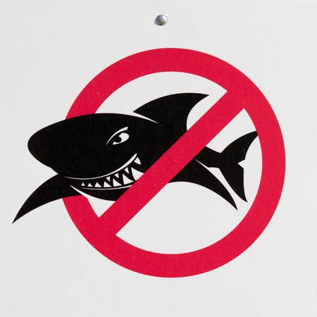 No sharks sign in beach Stock Photo