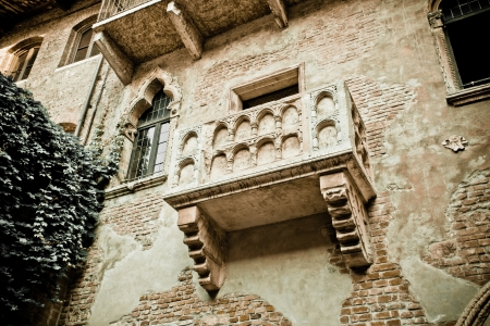 Romeo and Juliet balcony in Verona, Italy -colorized photo for old mood photo