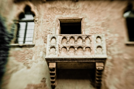 Romeo and Juliet balcony in Verona, Italy -colorized photo for old mood, created with lensbaby photo