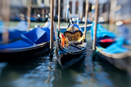 Gondolas in Venice, created with lensbaby for selective focus photo