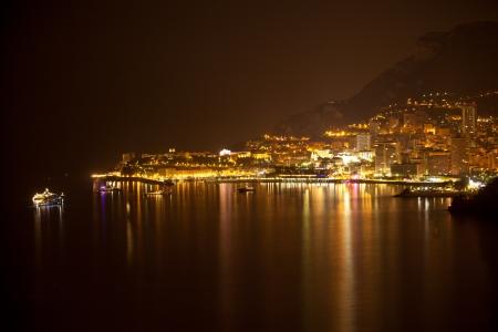 carlo: Monaco, Monte Carlo by night with reflection Stock Photo