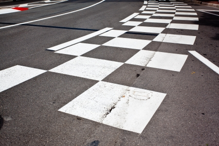 Car race asphalt and curb on Monaco Montecarlo Grand Prix street circuit Stock Photo