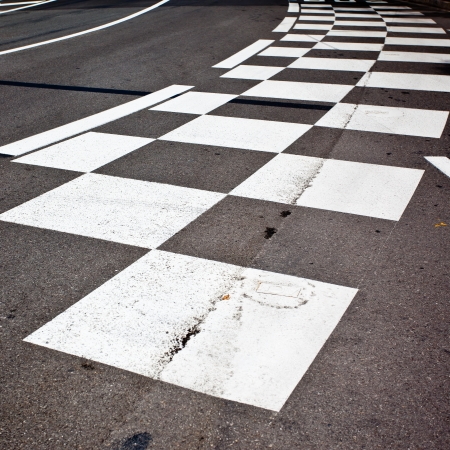 Car race asphalt and curb on Monaco Montecarlo Grand Prix street circuit photo