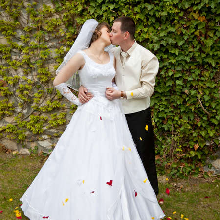 beautiful young wedding couple outdoor Stock Photo - 21467281