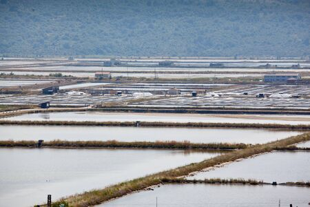 View of Salt evaporation ponds in Secovlje, Slovenia photo
