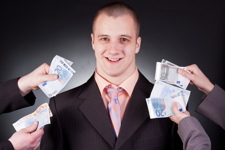 unaccepted: young handsome businessman with money