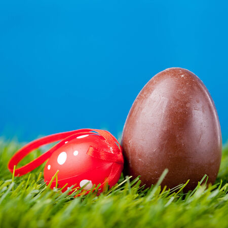 ch: easter eggs in green grass