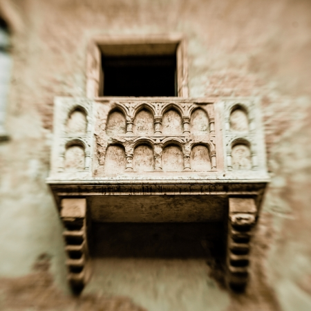 romeo and juliet: Romeo and Juliet balcony in Verona, Italy -colorized photo for old mood, created with lensbaby