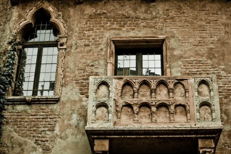 colorized: Romeo and Juliet balcony in Verona, Italy -colorized photo for old mood Stock Photo