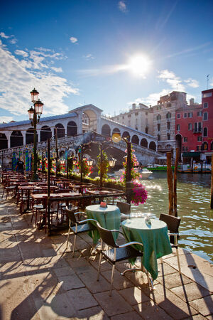 rialto bridge in Venice with terrace