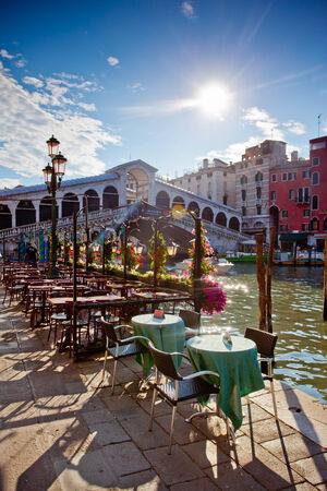 rialto bridge in Venice with terrace