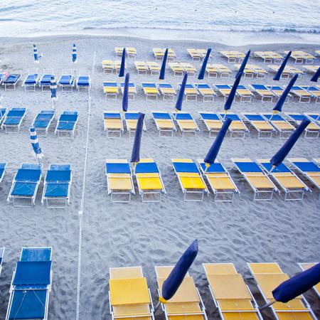 monterosso: beach umbrellas in a resort of Monterosso Stock Photo