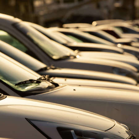 new car lot: Parking cars in beautiful sunshine