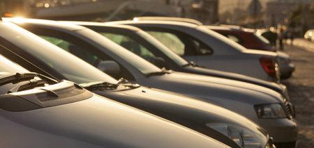 Parking cars in beautiful sunshine photo
