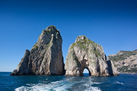 Capri blue sea with Faraglioni