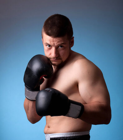 kick-boxer training before fight Stock Photo