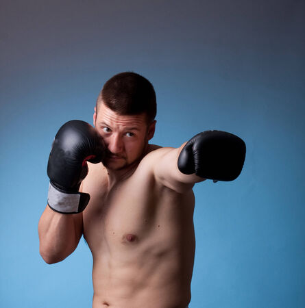 forearms: kick-boxer training before fight