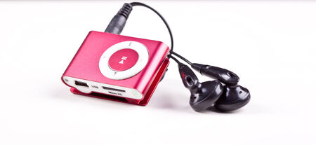 red mp3 player over white backround photo