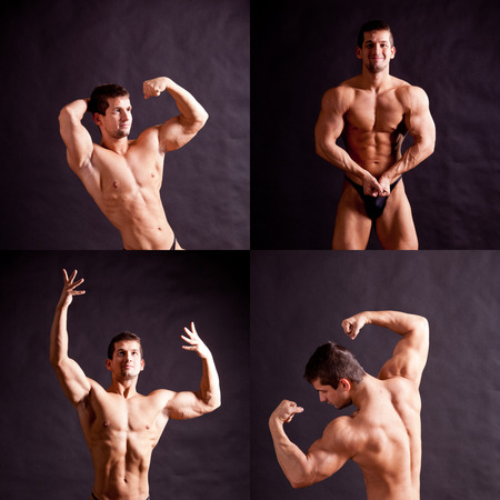 pectorals: bodybuilder flexing his muscles over black background Stock Photo
