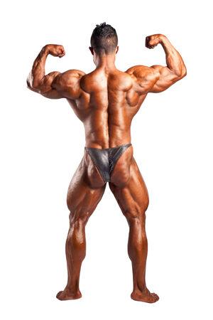 lats: bodybuilder flexing his muscles in studio Stock Photo