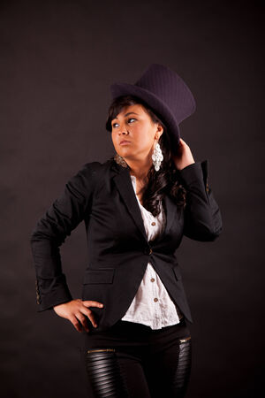 sexual position: sensual businesswoman with top hat