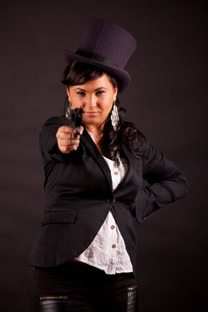humorously: sensual businesswoman with top hat