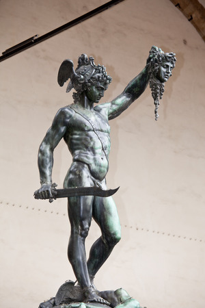 slaying: Statue of Perseus slaying Medusa - Loggia del Lanzi (Piazza della Signoria, Firenze, Italia) Editorial