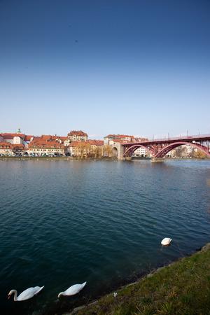 drava: Maribor in Slovenia with river Drava