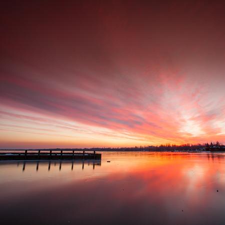 balaton: Sunset in Keszthely Bay, lake Balaton Stock Photo