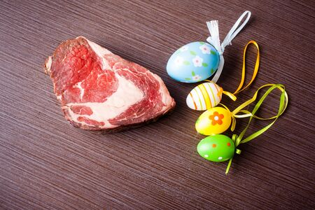 easteregg: raw beef with easter eggs