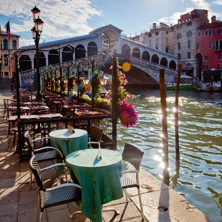 rialto bridge: rialto bridge in Venice with terrace Stock Photo