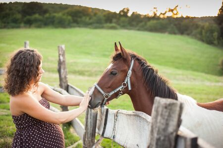 green life: beautiful pregnant woman with horse