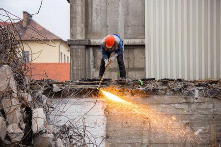 ball lump: PECS - DECEMBER 10 : Demolishing the 25 floor building on 10 December 2015 in Pecs, Hungary. The 25 floor building is the highest unpeopled building in Europa
