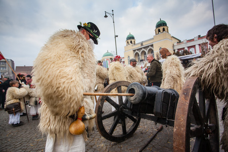 farsang: MOHACS, HUNGARY - FEBRUARY 17: Unidentified people in mask participants at the Mohacsi Busojaras, it is a carnival for spring greetings) February 17, 2015 in Mohacs, Hungary.