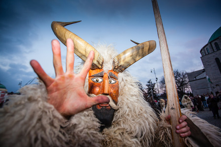 mohacs: MOHACS, HUNGARY - FEBRUARY 17: Unidentified people in mask participants at the Mohacsi Busojaras, it is a carnival for spring greetings) February 17, 2015 in Mohacs, Hungary.